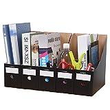 Archivador de revistas, paquete de 5 cajas de almacenamiento de escritorio impermeables A4 organizador de documentos para dormitorio escolar, oficina, almacenamiento de archivos del hogar (negro)