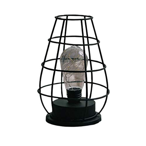 Uonlytech Lámpara de mesa industrial vintage jaula de hierro led matraz de vino forma lámpara de escritorio luz de noche para dormitorio sala de estar bar hotel decoración (negro)