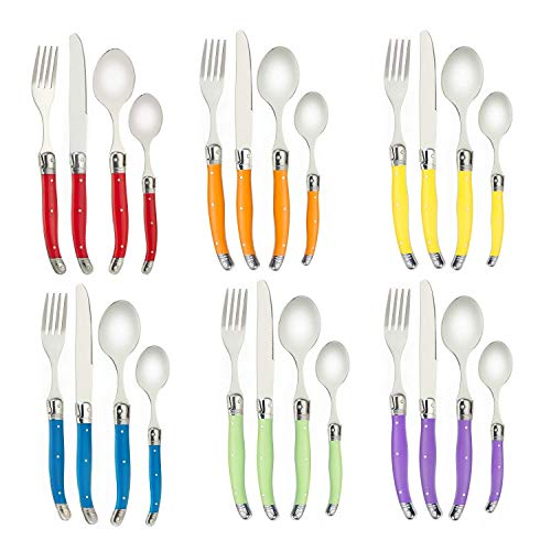 Flying Colors Laguiole Set di Posate in Acciaio Inossidabile. Manico Multicolor, Confezione di Regalo, 24 Pezzi. I-TLTW-Z0124