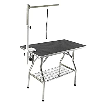 Flying Pig Grooming Small Stainless Steel Frame Foldable Dog Pet Table 32  by 21  Black