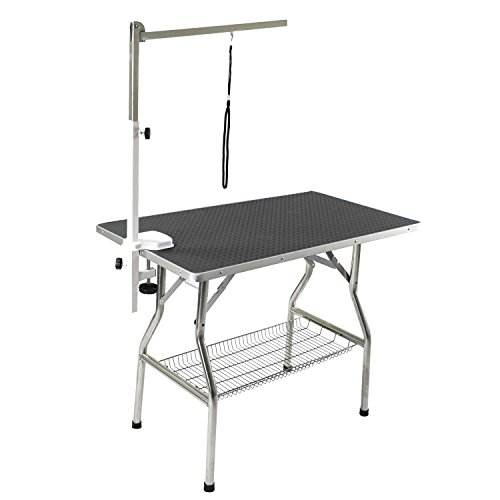 Flying Pig 44'x24' Large Heavy Duty Stainless Steel Frame Foldable Pet Grooming Table, Black