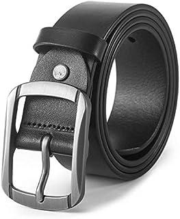 Leather Belt for Men, Pin buckle belt, Soft Genuine Belts for Business Casual Jeans Dress/105-125cm