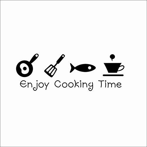 Geniet van het koken van de tijd letters, beker met vis spatel en pot, wandsticker voor keuken, restaurant, home decoratie, afneembare vinyl kunst