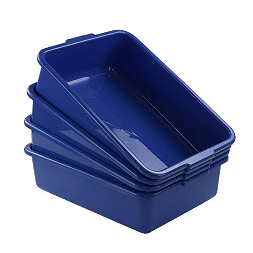 Xyskin Plastic Rectangle Utility Bus Box, Commercial Totes Tubs, Blue, 4 Packs
