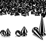 170 Pieces Multiple Sizes Cone Spikes Screwback Studs Rivets Large Medium Small Metal Tree Spikes Studs for Punk Style Clothing Accessories DIY Craft Decoration (Black Nickle)