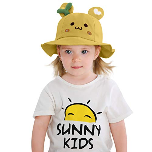 VESNIBA Sombrero para niña con ala ancha, protección solar UPF 50, para bebés, niñas, niños, bebés, niños pequeños, unisex. amarillo 46-48