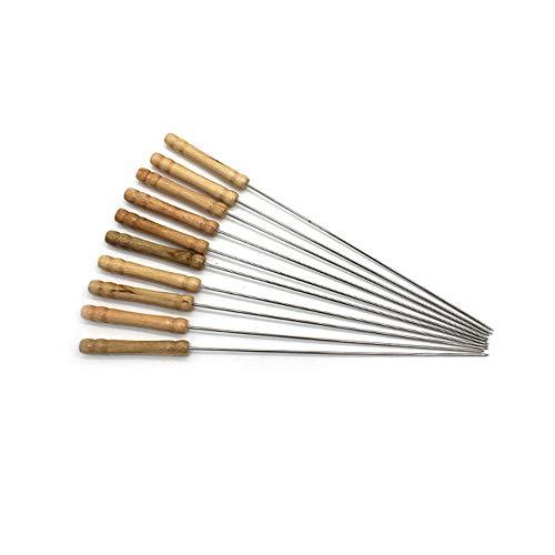 Grillspieße, wiederverwendbar, Edelstahl, Metall, Kabab-Stäbe, extra lang, 31 cm, mit Holzgriff zum Grillen, Kochen, 10 Stück