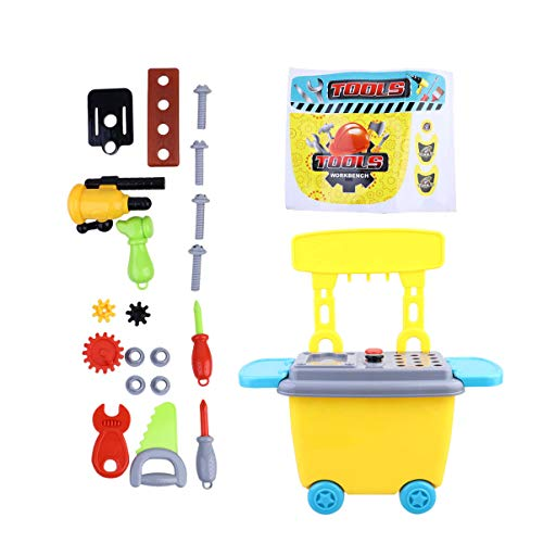 STOBOK Kids Cart Playset Role Play Plastic Pretend Artisan Playing Toy Set Early Education Traveling Case Toy Portable Storage Troller- Artisan Set