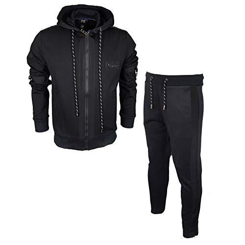 Cavalli Class - Tuta con cappuccio e zip, vestibilità aderente, colore: Nero Nero XL