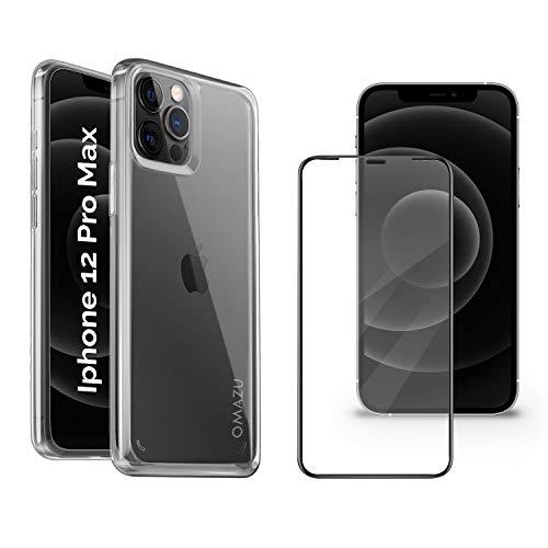 """OMAZU Hybrid PC/TPU Shock Hülle Kompatibel iPhone 12 pro max 6.7"""" Zoll mit 1 Stück 3D Japanische 9H HD Panzerglas Schutzfolie volle randlose Abdeckung, Schablone-Installationshilfe"""