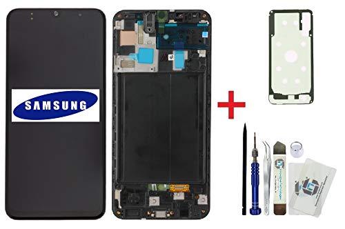 ITG® originele display reparatieset voor Samsung Galaxy A50 SM-A505F – originele Samsung Full OLED displayunit (service pack) + accudeksel 3M kleeffolie + gereedschapsset, zwart