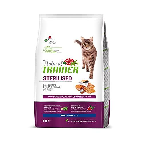 Trainer Natural - Cibo per gatti adulti sterilizzati, Alimento Secco con Salmone e Fibra di Pisello,...