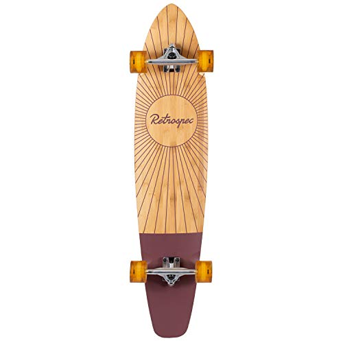 Retrospec Zed Bamboo Longboard Skateboard Complete Cruiser, Crimson Rising , 44 in.