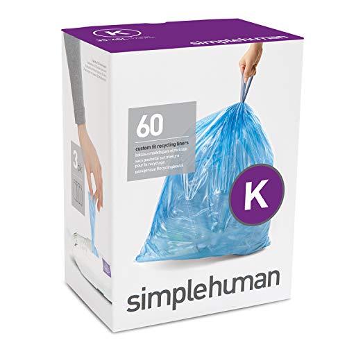 simplehuman Code K Custom Fit Drawstring Trash Bags, 35-45 Liter, 60 Liners, Blue, Count