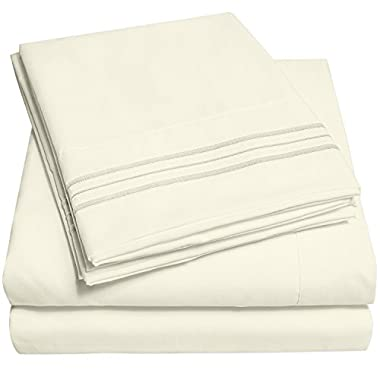 Sweet Home Collection 1500 Supreme Collection Extra Soft King Sheets Set, Ivory - Luxury Bed Sheets Set With Deep Pocket Wrinkle Free Hypoallergenic Bedding, Over 40 Colors, King Size, Ivory