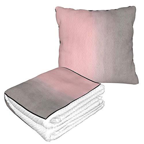 Manta de almohada de terciopelo suave 2 en 1 con bolsa suave degradada acuarela rosa gris funda de almohada para el hogar, avión, coche, películas de viaje