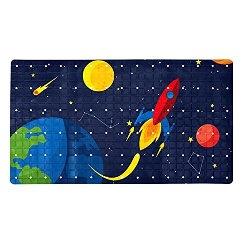 Non-Slip Bathtub & Shower Mat 40x71cm- Non-Toxic - Safe, Clean,Machine-Washable,Superior Grip & Drainage,for Smooth Floors,Cartoon Rocket Starship Space Earth