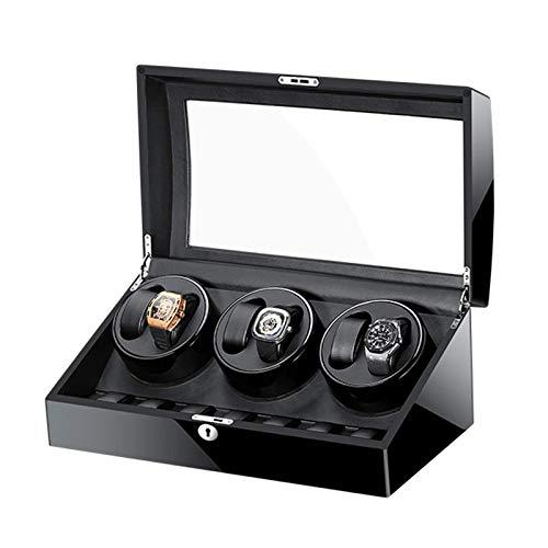 XIUWOUG Caja giratoria automática para relojes con pantalla de memoria, color negro lacado, placa de cristal, forro de piel, motor silencioso (color: negro, tamaño: 6 + 7)
