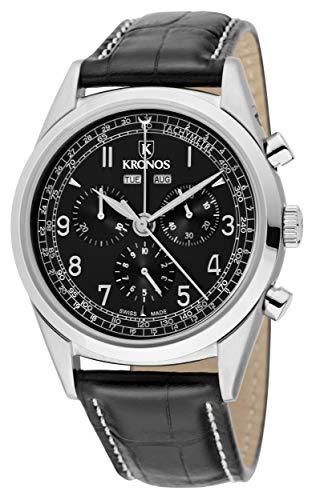 KRONOS - First Class Chronograph Complete Calendar Black 963.55 - Reloj de Caballero de Cuarzo, Correa de Piel Negra, Color Esfera: Negra