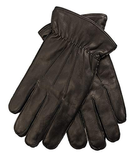 EEM gants ALEX en cuir de mouton souple pour hommes, trois sûrpiqures, doublure chaude en polaire, noir M