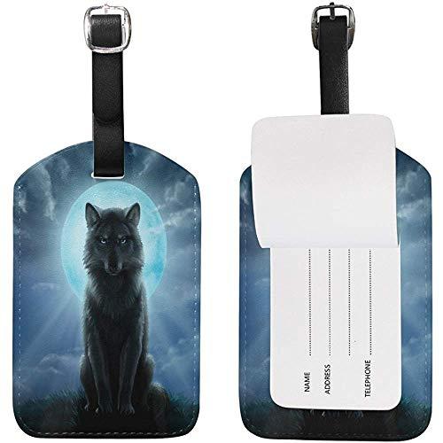 Moon Night Wolf Etichette per bagagli Borsa da viaggio Etichetta Valigia 1 Pezzo 985542-LGT-3058