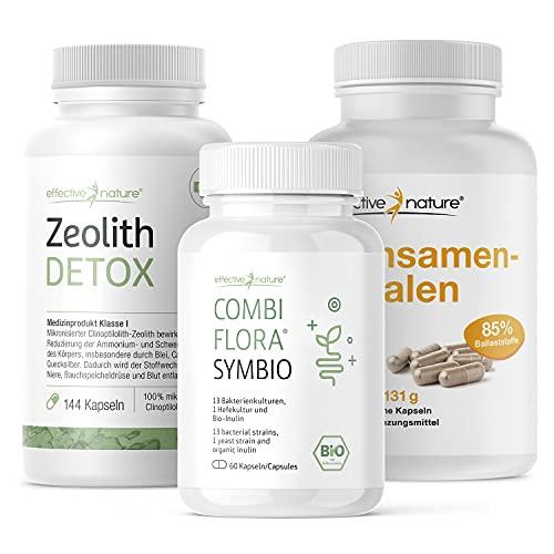 effective nature - Simple Clean Detox Darmprogramm - Mit Zeolith Detox, Combi Flora Symbio und Flohsamenschalen - Praktische Kapseln