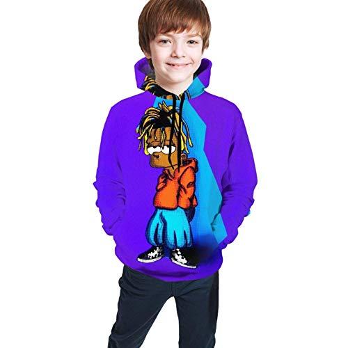 Sudaderas con Capucha Sudaderas largasSuéter de Manga Suéter Juice Wrld Niños Casual Camisa de impresión Digital 3D Bolsillo Niño y niña Adolescente Suda