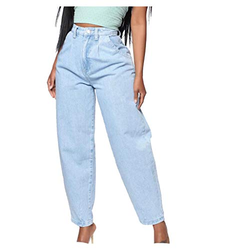 FRAUIT Pantaloni Donna Taglie Forti Jeans Pantalone Ragazza Vita Alta Largo Denim Pantaloni Donne Estivi Larghi Pantaloni Eleganti Estivi Lunghi