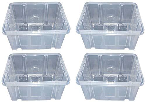 Novaliv 4 x Dreh Stapelbox 44 x 35 x 24 Aufbewahrungsbox Box Lagerbox Multibox transparent 44,5 cm Kunststoff, Plastikbox, Autobox