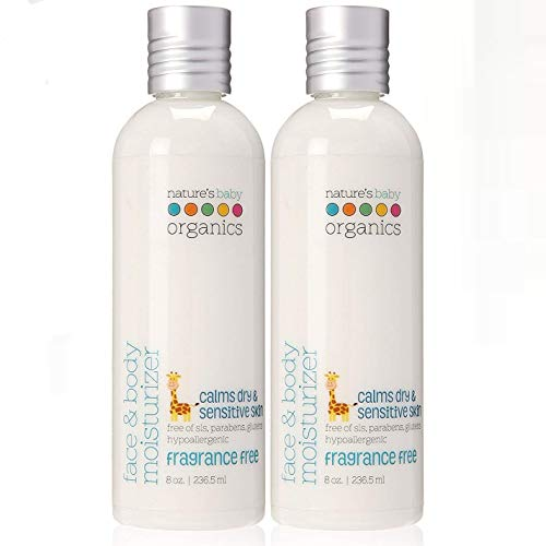 Nature#039s Baby Organics Baby Lotion Moisturizing Body Lotion for Kids Fragrance Free Baby Cream for Body and Face With Aloe and Calendula Gentle on Skin 8 oz Pack of 2