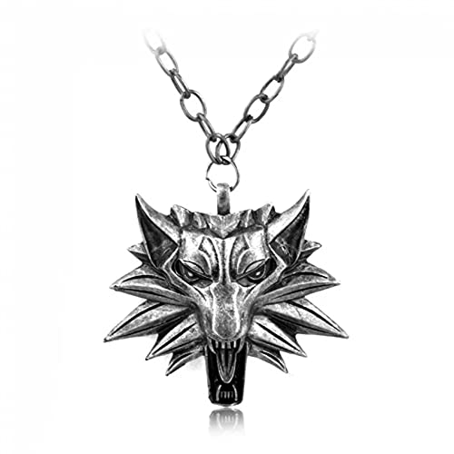 SOTUVO Collar Modelos Anime GameWolf HeadWild Hunt Game Colgante Collar Geralt Animal Metal Cadena de eslabones Collar de Cabeza de Lobo