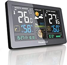 Newentor Weather Station Wireless Digital Indoor Outdoor Thermometer with Alarm Clock, Color Large Display Hygrometer Temperature and Humidity Monitor with Calendar and Adjustable Backlight (Black)