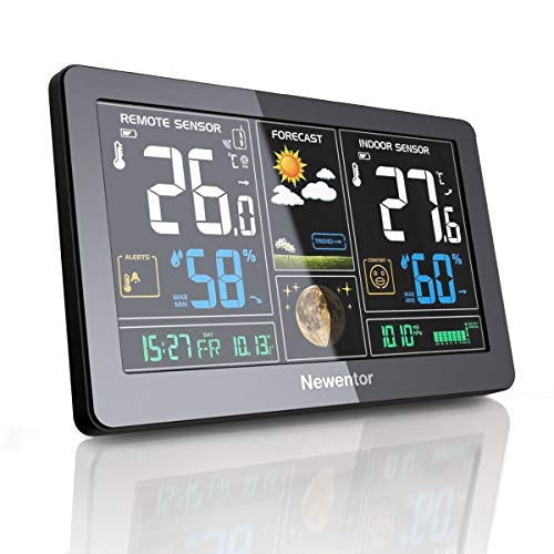 Newentor Weather Station Indoor Outdoor Thermometer Wireless, Digital Weather Thermometer with Atomic Clock, WWVB Signal Forecast Station with Large Screen Calendar and Adjustable Backlight
