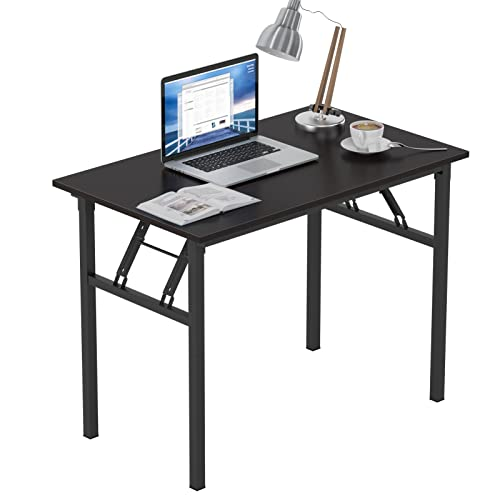 Need Folding Computer Desk 100cm x 60cm Folding Table Compact Table Small Desk for Home office Study Writing Room Black AC5CB-100