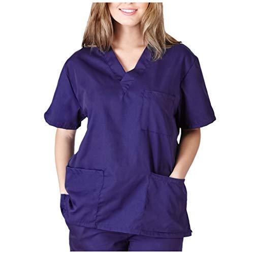Zilosconcy Arbeitskleidung Unisex Kurzarm T-Shirts V-Ausschnitt Tops Pflege Medizin Arzt Uniform Berufsbekleidung Krankenschwester Kleidung Damen Uniformen Oberteil mit Tasche LilaM