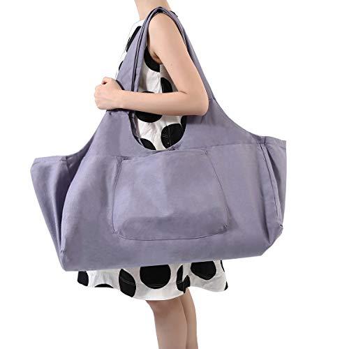Slimerence Yogatasche, Oversize Yoga Kit Tasche aus 100% feine Leinwand - Multifunktionale Aufbewahrung wie Yoga-Matte, Yoga Roller, Handtuch,Pilates Tasche, Sport Ausrüstung Tasche Light Purple