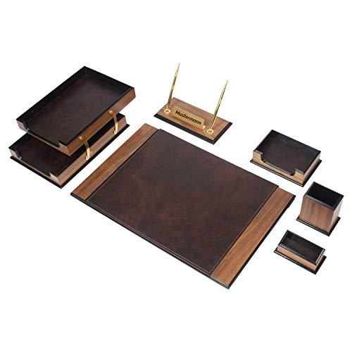 Luxuriöses 8 tlg Schreibtisch Set mit doppelte Aufklappfunktion Dokumentenablage, personalisierbares Namensschild aus Holz-Leder in 4 Farben, Farbe:Braun