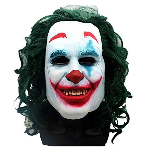 Joker Mask 2019 Todd Phillips Movie Joaquin Phoenix - Cosplay Halloween Costume - Scary Clown Mask White