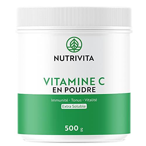 Vitamina C en Polvo 500 g | 100% Ácido L-Ascórbico | Polvo Puro Ultra Fino | Reduce la Fatiga y Mejora el Sistema Inmunológico | Envasado en Francia | Cuchara Medidora Incluida | Nutrivita