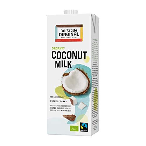 Bio Kokosmilch 1 Liter Tetrapack | von Fairtrade Original | aus Sri Lanka | ideal für asiatische Gerichte | für einen reichen, sahnigen Geschmack | 100% Bio | vegane Milch | Cocos Milk (1 Liter)