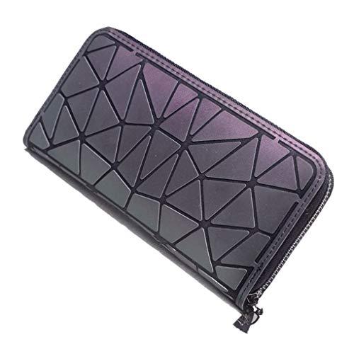 Frauen Geometrische Rauten Lattice Luminous Lange Wallet Female Einzigartige Geldbörse Reißverschluss-Kartenhalter Beaums