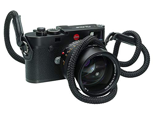 "Vi Vante Cliffhanger Noir Blackout Rope Camera Strap Nappa Leather Ends Built in Side Protection 47"" Long"