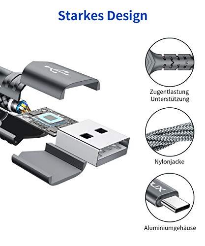 JSAUX USB C Kabel [2 Stück 2M ] Nylon Typ C Ladekabel für Samsung Galaxy S10 S9 S8 Plus,Note 10 9 8,A3 A5 2017,LG G5 G6 V20,HTC 10 U11,Sony Xperia XZ Xa1, Huawei P30 P20 Mate 20 Lite P10 P9 usw (Grau)