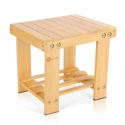 Ej. Life Multifunctional Kids Bamboo Stool,Step Stool with Storage Shelf,Lightweight