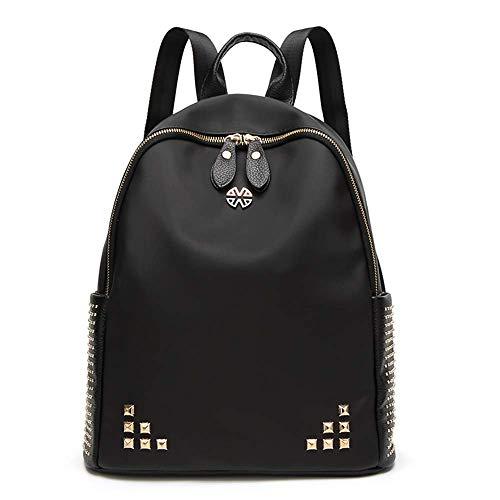 Beylasita Donna Zaino Borchie Casual Borsa in nylon Impermeabile Backpack Daypack per Scuola Viaggio lavoro nero