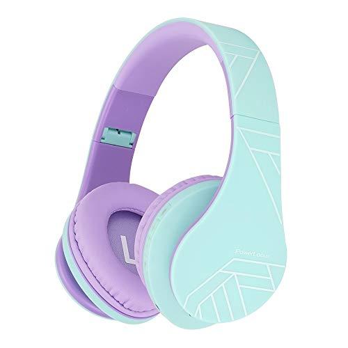 Kinder Kopfhörer, PowerLocus KinderKopfhörer Bluetooth mit 85dB Lautstärkebegrenzung, Faltbar mit Tragetasche, Kopfhörer Over Ear Kabellose und Kabel mit Mikrofon, Micro-SD-Modus für Handy, PC, Tablet