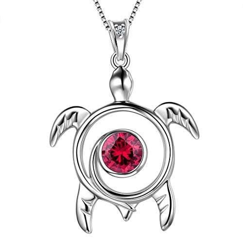 Aurora Tears Red Turtle Necklace 925 Sterling Silver Spiral Ruby-Red Sea Animal Turtle Pendant Celtic Viking Women July-Birthstone Cute Jewelry DP0172R