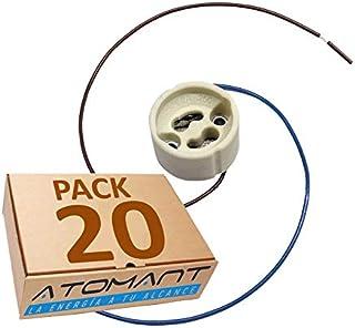 Pack 20x Portalamparas para Gu10 con Cable Extralargo 20 Centimetros. color blanco, Standard.