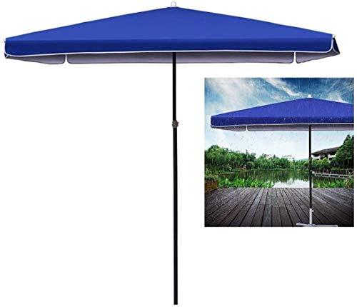 Dstervl - Sombrilla de jardín resistente para terraza/playa/piscina, color azul con manivela e inclinación, perfecta para balcón, mesa de jardín, terraza o piscina