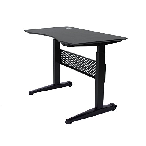 "ApexDesk Pneumatic 59""x29"" Movable Sit/Standing Desk, Pneumatic Height Adjustable from 29"" to 48"" (59x29"" Textured Black Top, Black, Frame)"